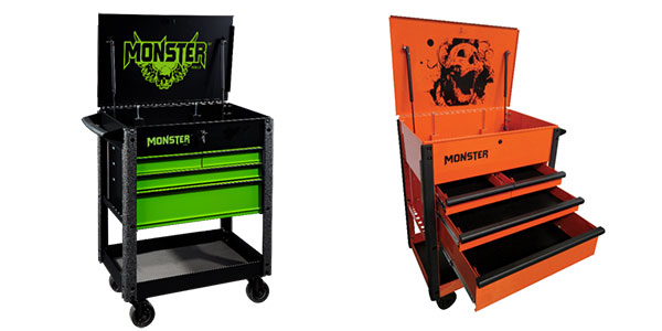 screaming sculls and new colors on new monster 4-drawer carts