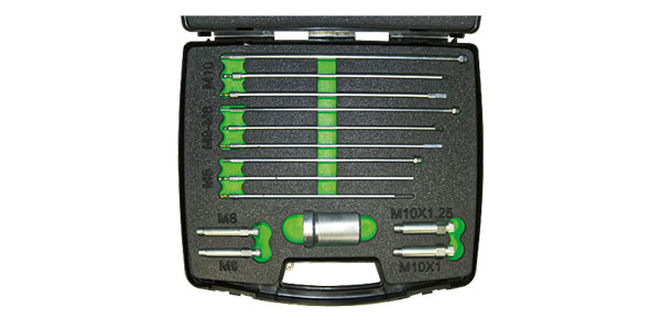 This set includes all the tools needed to safely remove the terminal part of the glow plug electrode without damaging the cylinder head.